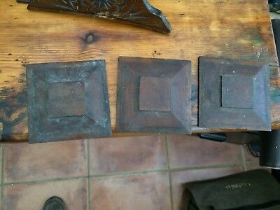 3 x antique carved square wood trims, mouldings, mahogany, 10 x 10 cm flat plate