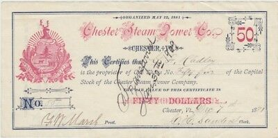 Chester Steam Power Co. Stock Certificate, Chester, Vermont, 1881