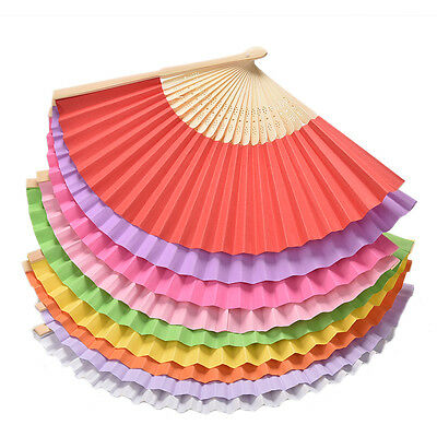 1 X Ladies Hand Held Folding Hand Fan Bamboo Paper Party Wedding Prom Dance JS