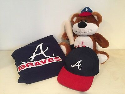 Atlanta BRAVES Lot of 3 Gift Items Vintage XL Tee, Bear, Hat