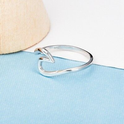 Fashion Women Sterling Silver Ocean Wave Ring Size 6-8  Jewelry Gift Hot Sale
