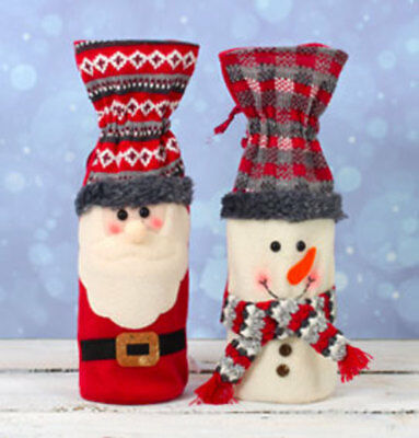Festive Bottle Bags Santa and Snowman Two Pack