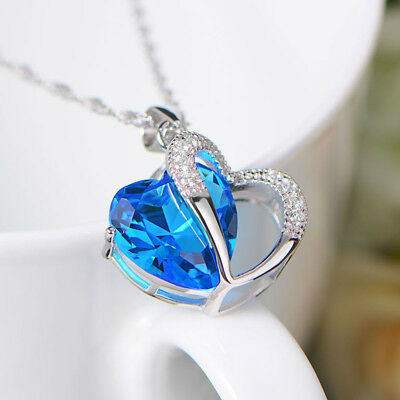 Fashion Women 925 Silver Plated Wave Chain Cubic Rhinestone Pendant Necklace