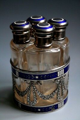 Silver And Enamel Mounted Scent Bottle Stand Fitted With Four  Bottles 1867