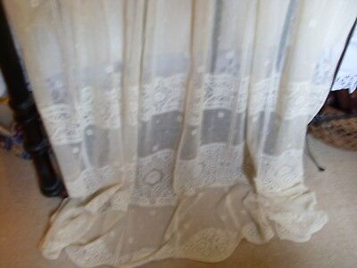 lovely cream vintage lace panel.----long and wide.