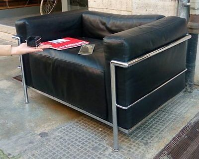 Cassina armchair The Corbusier LC3 black leather VINTAGE original collectibles