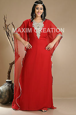 1b29d7dd505 NEW Moroccan Red Georgette Kaftan GOLD Embroidery Dubai Abaya Maxi Dress  1310