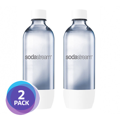 [2 PACK] Sodastream 1L Carbonating Bottles - White