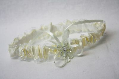 Ivory Satin and Organza Wedding Bridal Garter with Beaded Flower