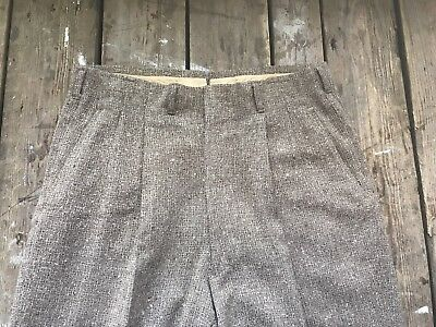 Vintage 1940s Fleck Wool Drop Loop High Waisted Hollywood Rockabilly Pants 34