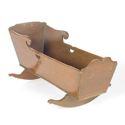 Antique wood cradle baby rocking dovetailed primitive country farmhouse vtg