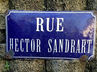 Antique French Street Sign Convex Metal with Great Patina