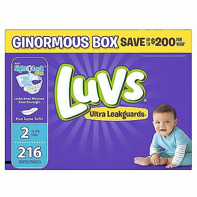 SEALED BOX! FREE SHIPPING! Luvs Ultra Leakguards Diapers Size 2, 216 Count