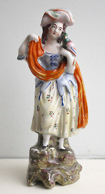 A Good c19th Antique Polychrome Staffordshire Figure, Lady with Parrot