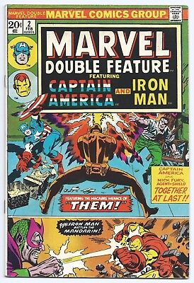 Marvel Double Feature #2, Captain America, Iron Man, 1974, Cents, Mandarin