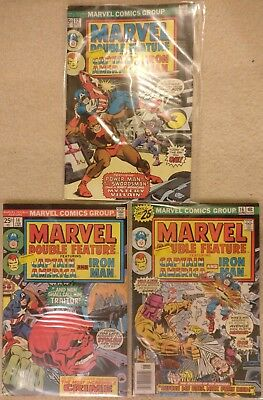 Marvel Double Feature #12 14 16, Captain America, Iron Man, 1975-1976 Red Skull