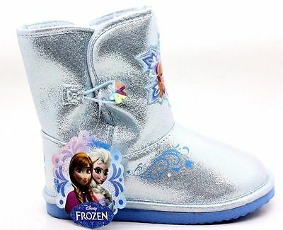 Disney Frozen Girl Cozy Winter Snow Boot Pull On Silver Blue Toddler Size 10 M
