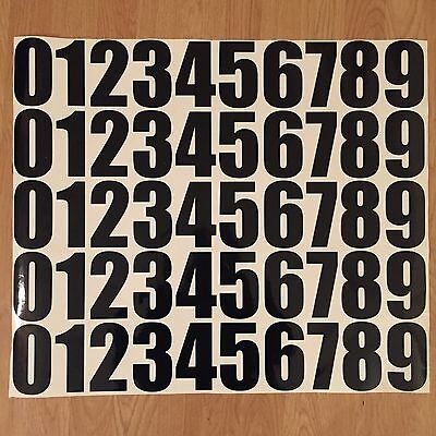 50 X 0 TO 9 BLACK OR WHITE 4in INCH RACE NUMBERS MOTOCROSS ENDURO MOTORBIKE QUAD