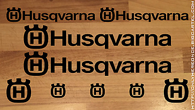 9 Piece Husqvarna Logo Stickers / Decals Set - Different Colours Available