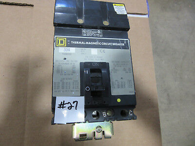 Square D FA36030 Thermal-Magnetic Circuit Breaker 3P 30A 600V VGC! Free Shipping