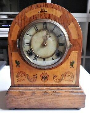 Antique Oak Cased Chiming Mantle Clock