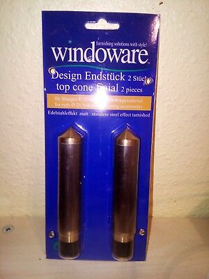 "2x Gardinenstangen Endstück ""Windoware"" Design 20 mm Stange MESSING Kappe Uvp80€"