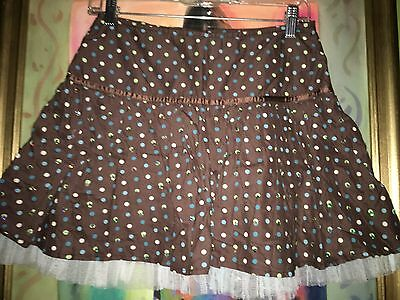 Limited Too Brown Polka Dotted w/Sequins Skirt w/Shorts Skort Sz 16