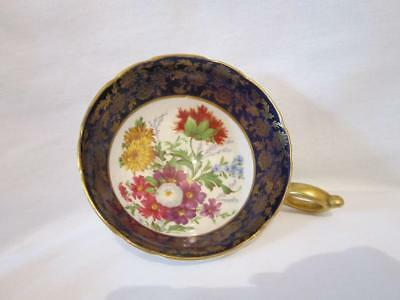 Vintage Paragon Bone China Cup Only Mixed Flowers Cobalt Blue & Gold Rim