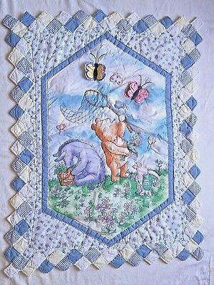 Winnie The Pooh Classic Crib Quilt Baby Blanket Butterflies 3D Butterfly Piglet