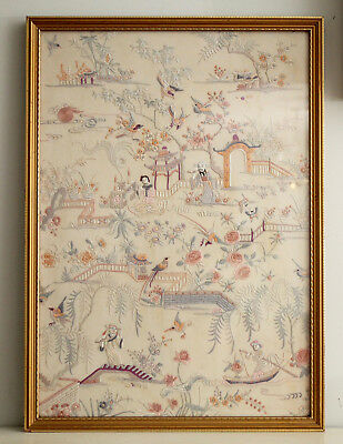 A Beautiful Antique c19th Chinese Embroidered Silk Panel, Figures in a Garden