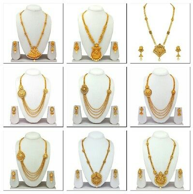 South Indian Traditional Ethnic Gold Plated Necklace Earrings Temple Jewelry Set