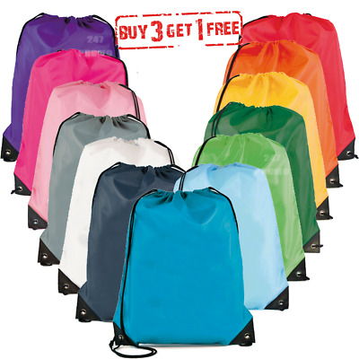 School Drawstring Book Bag Sport Gym Swim PE Dance Girls Boys Kids Backpack