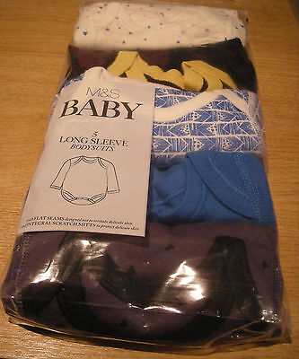 M&S BABY PACK OF 5 BOY'S LONG-SLEEVED BODYSUITS NEWBORN UPTO 7lb 6oz (3.2kg) NEW