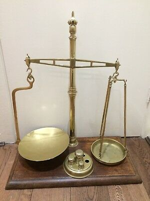 Antique Brass Decorative Weighing Scales with Weights