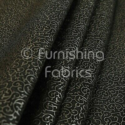 Designer Raised Swirl Pattern Black Colour Faux Leather Upholstery Vinyl Fabric