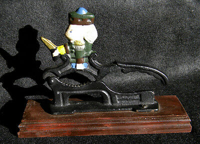 Vintage Cast Iron Paul Revere Soldier Nut Cracker on Wood Base