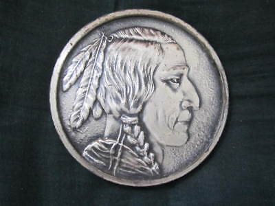 """indian Head Nickel"" Vintage Large Metal Token From Plymouth Rock, Massachusetts"