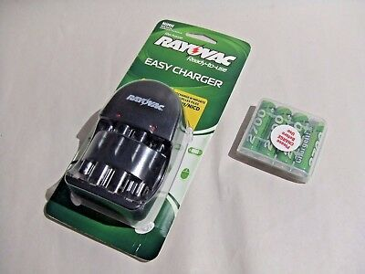 Rayovac Easy Charger   AA  AAA and 4-pack ChargeIt + 4 Rechargeable AA Batteries