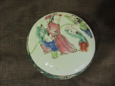 Chinese Longevity Hand Painted Dragonfly Peach Butterfly Children Porcelain Box
