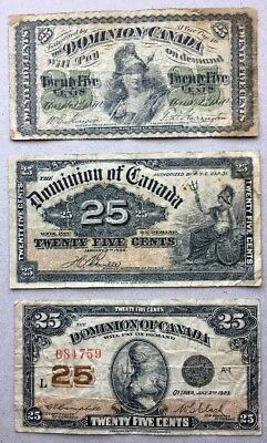 Lot of 3 - 1870 1900 1923 Dominion of Canada 25 cent Bank Note Shinplaster # 3