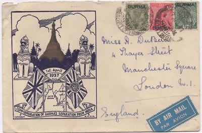 BURMA: 1937 Overprint Examples on Airmail Cover to London - Cancels (12806)