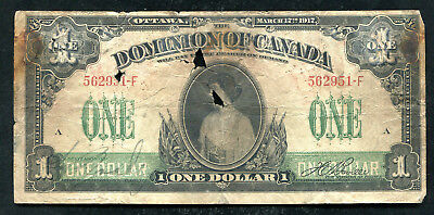 Dc-23 1917 $1 One Dollar Dominion Of Canada Banknote