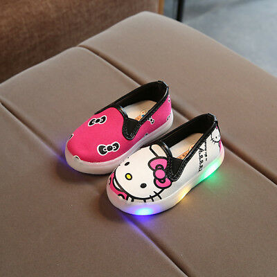 kids Boys Girls LED Canvas Shoes Child Light Up Luminous Sneakers Christmas Gift