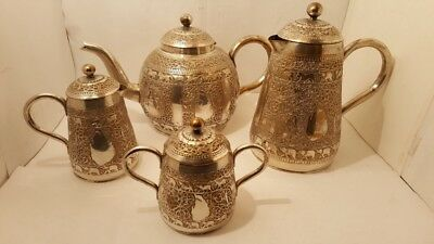 Antique Indian Kashmire Silver Plated Tea Set