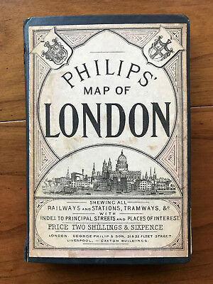Philips' Map Of London, by George Philip - c:1880 -Scarce Antique Hardcover Book