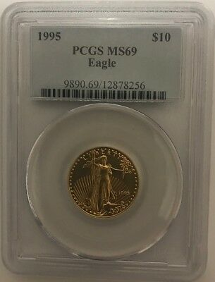 1995 $10 GOLD EAGLE PCGS MS69 VERY POP OF MS70 ONLY 10 COINS Low Mintage