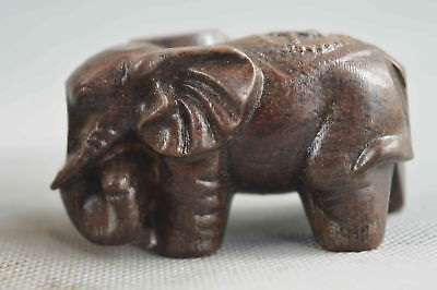 Collectable Handwork Decor Old Boxwood Carve Auspicious elephant Noble Statue