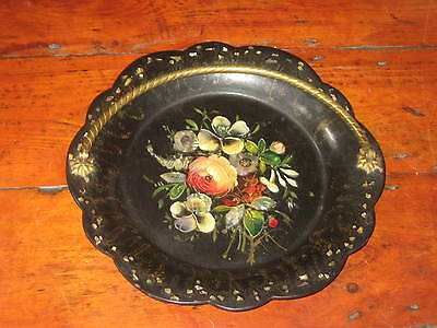 19Th Century Paper Mache Dish Painted Flowers With Mother Of Pearl Dec
