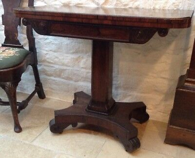 Antique Late Regency Rosewood Veneer Fold Over Top Card Table