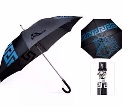 Versace large Medusa Executive Umbrella BLUE BLACK SILVER MEN Limited Edition